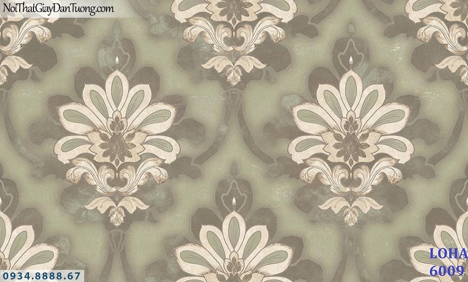 LOHA | Giấy dán tường cổ điển 3D, bông hoa lớn, màu xanh cốm, xanh lá cây, vàng chanh | Giấy dán tường Loha Hàn Quốc 6009