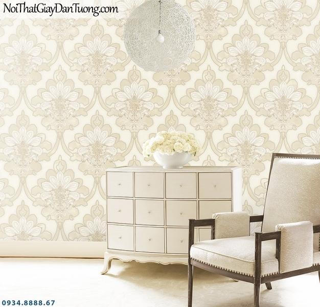 LOHA | Giấy dán tường cổ điển màu vàng kem, giấy hoa to | Giấy dán tường Loha Hàn Quốc 6008