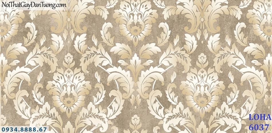LOHA | Giấy dán tường cổ điển màu xám bạc, màu xám, bông hoa to 3D | Giấy dán tường Hàn Quốc Loha 6037
