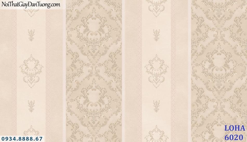 LOHA | Giấy dán tường dạng sọc cổ điển, màu hồng nhạt, sọc to, sọc nhỏ| Giấy dán tường Loha Hàn Quốc 6020