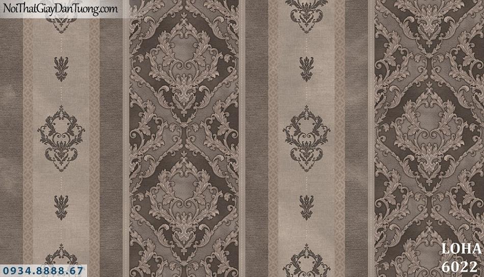 LOHA | Giấy dán tường dạng sọc màu xám, sọc to sọc nhỏ cổ điển đẹp | Giấy dán tường Loha Hàn Quốc 6022