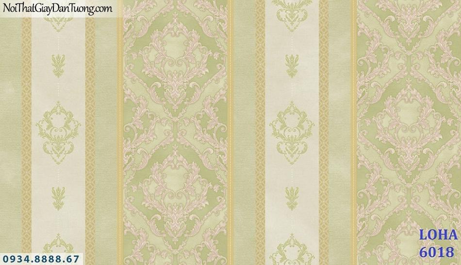 LOHA | Giấy dán tường dang sọc, sọc hoa văn cổ điển, màu xanh lá cây, xanh ngọc, vàng chanh | Giấy dán tường Loha Hàn Quốc 6018