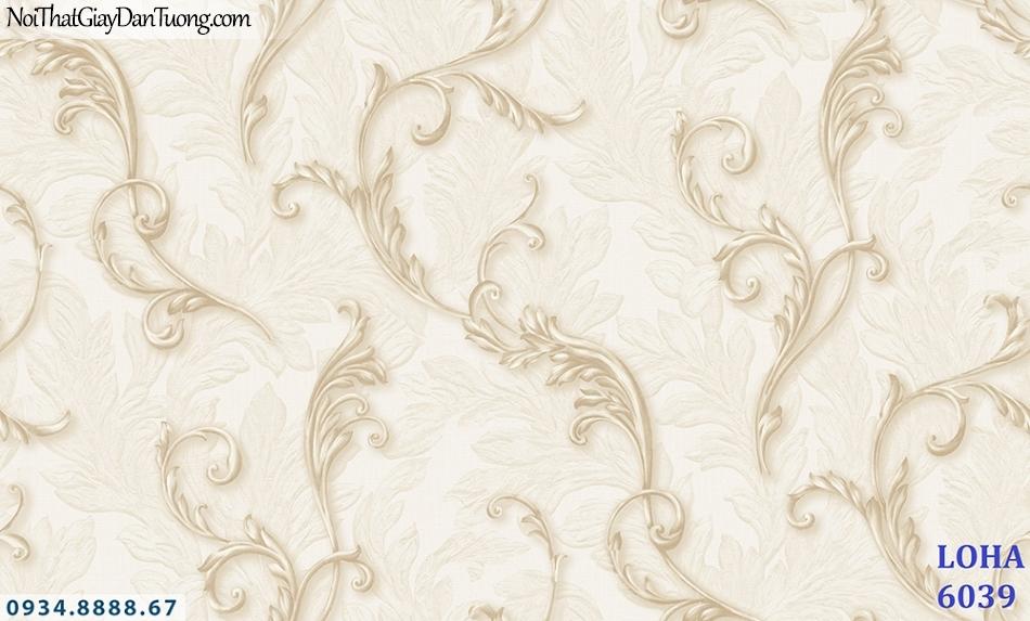 LOHA | Giấy dán tường dây lá 3D, lá leo tường màu vàng kem | Giấy dán tường Hàn Quốc Loha 6039