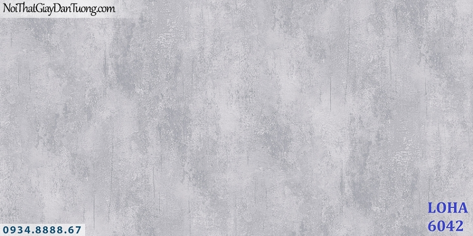 LOHA | Giấy dán tường giả bê tông màu xám, giả xi măng màu xám đậm, trắng xám | Giấy dán tường Hàn Quốc Loha 6042