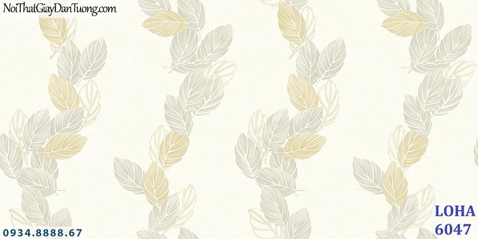 LOHA | Giấy dán tường hình chiếc lá, nhiều chiếc lá rơi màu kem, vàng kem, Giấy dán tường phòng ngủ | Giấy dán tường Loha 6047