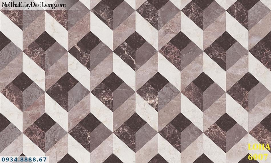 LOHA | Giấy dán tường hình lập phương 3D, hình lập thể vuông màu nâu | Giấy dán tường Loha Hàn Quốc 6007