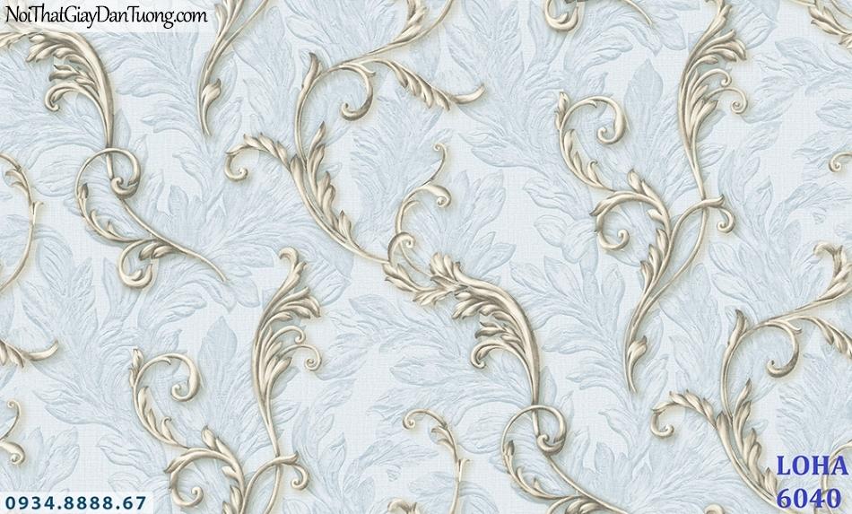 LOHA | Giấy dán tường hoa dây leo 3D, màu xanh dương nhạt, xanh da trời, xanh nước biển | Giấy dán tường Hàn Quốc Loha 6040