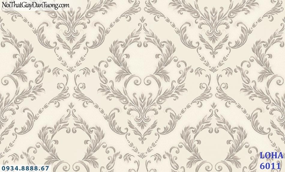LOHA | Giấy dán tường hoa văn to, họa tiết cổ điển màu trắng xám, màu kem | Giấy dán tường Loha Hàn Quốc 6011