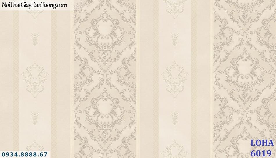 LOHA | Giấy dán tường kẻ sọc cổ điển màu vàng kem, màu hồng nhạt | Giấy dán tường Loha Hàn Quốc 6019