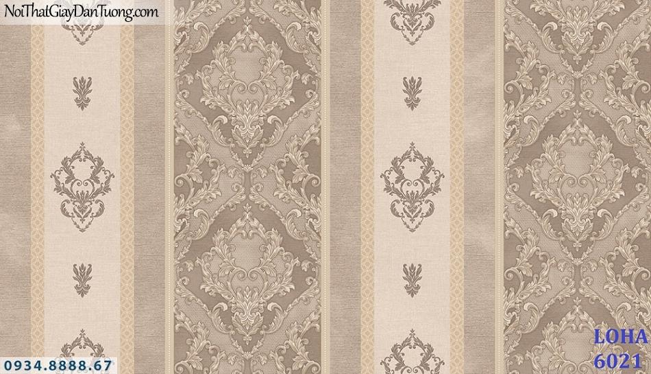 LOHA | Giấy dán tường kẻ sọc màu xám vàng, dạng sọc to, sọc nhỏ màu xám vàng cổ điển | Giấy dán tường Loha Hàn Quốc 6021