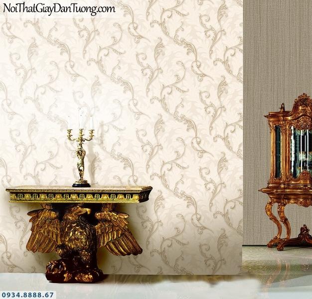 LOHA | Giấy dán tường lá dây leo 3d, kết hợp giấy gân trơn màu vàng | Giấy dán tường Hàn Quốc Loha 6039 - 6046
