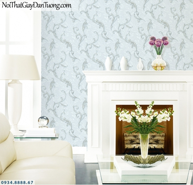 LOHA | Giấy dán tường lá dây leo tường 3D màu xanh dương, hoa lá dây leo tường đẹp | Giấy dán tường Hàn Quốc Loha 6040