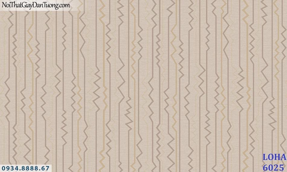 LOHA | Giấy dán tường màu nâu, màu vàng nâu, đường kẻ sọc uốn lượn| Giấy dán tường Loha Hàn Quốc 6025