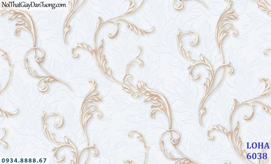 LOHA | Giấy dán tường màu trắng bạc, họa tiết xám vàng, dây lá leo tường 3D | Giấy dán tường Hàn Quốc Loha 6038