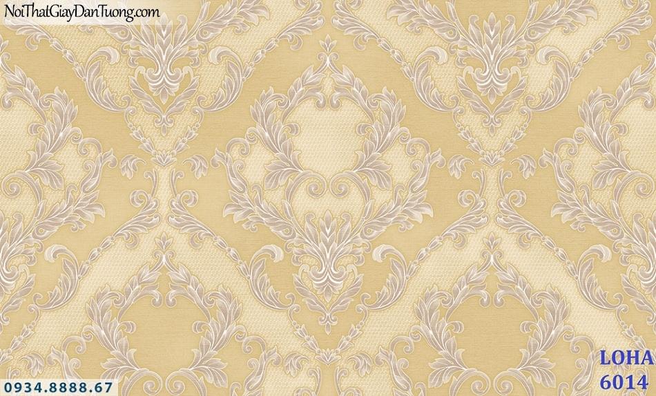 LOHA | Giấy dán tường màu vàng, hoa văn cổ điển phong cách cổ điển | Giấy dán tường Loha Hàn Quốc 6014