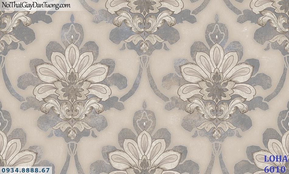 LOHA | giấy dán tường màu xám, hoa văn họa tiết lớn, dạng cổ điển | Giấy dán tường Loha Hàn Quốc 6010