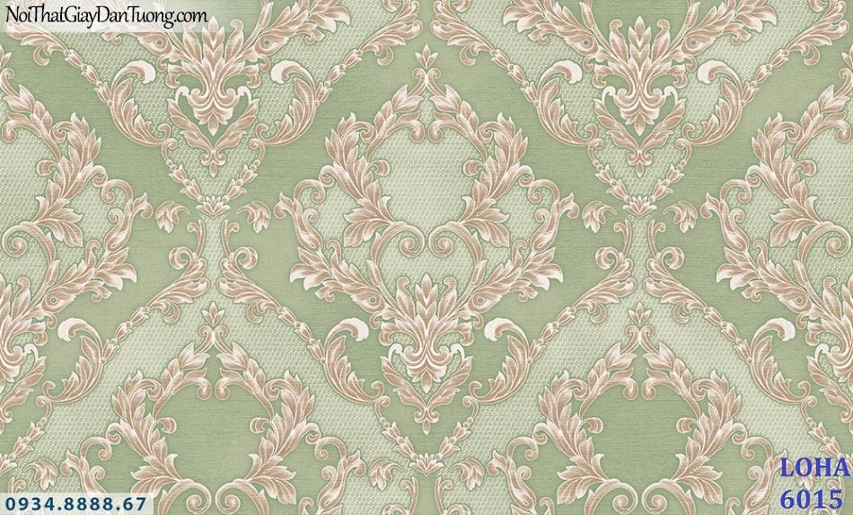 LOHA | Giấy dán tường màu xanh lá cây, xanh ngọc, xanh cốm, hoa văn họa tiết cổ điển phong cách Châu Âu | Giấy dán tường Loha Hàn Quốc 6015