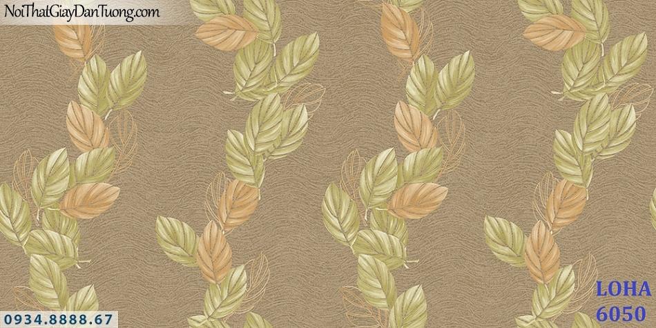 LOHA Hàn Quốc | Giấy dán tường hình chiếc lá màu vàng nâu, màu nâu sẫm, những chiếc lá bay rơi | Giấy dán tường Loha 6050