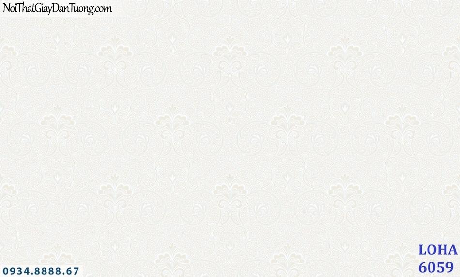 LOHA Hàn Quốc | Giấy dán tường màu trắng hồng hoa văn chìm, nhẹ nhàng| Giấy dán tường Loha 6059