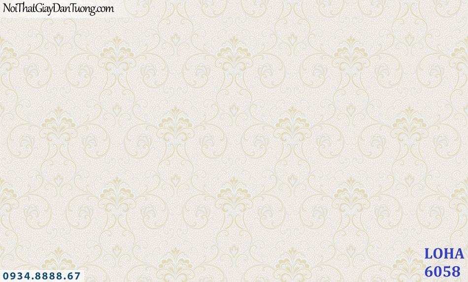 LOHA Hàn Quốc | Giấy dán tường màu vàng kem, họa tiết hoa văn chìm | Giấy dán tường Loha 6058