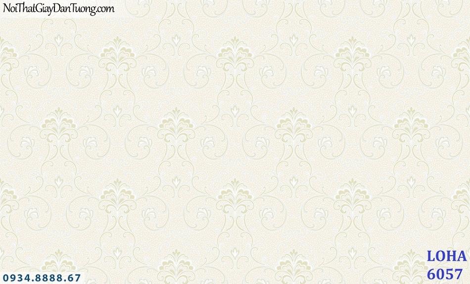 LOHA Hàn Quốc | Giấy dán tường vân chìm màu vàng kem, họa tiết nhẹ nhàng | Giấy dán tường Loha 6057