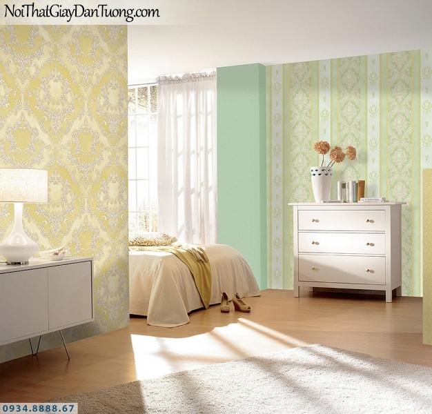 LOHA | Kết hợp giấy dán tường cổ điển màu vàng và màu xanh lá cây, xanh ngọc, xanh cốm | Giấy dán tường Loha Hàn Quốc 6014 - 6018