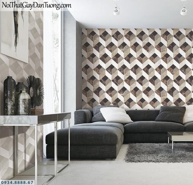 LOHA | Phối cảnh giấy dán tường 3D hình lập thể màu xám | Giấy dán tường Loha Hàn Quốc 6007