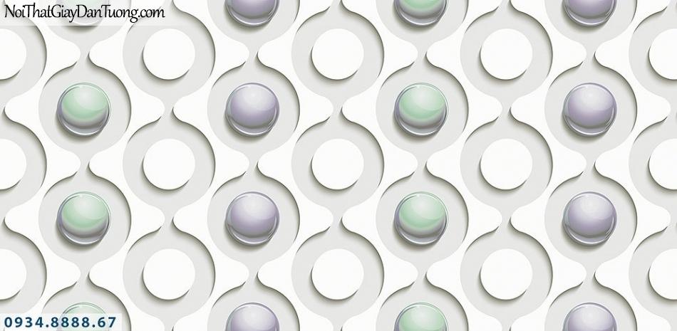 Assemble | Giấy dán tường 3D hình tròn, chấm bi 3D màu trắng | Giấy dán tường Assemble 40114-1
