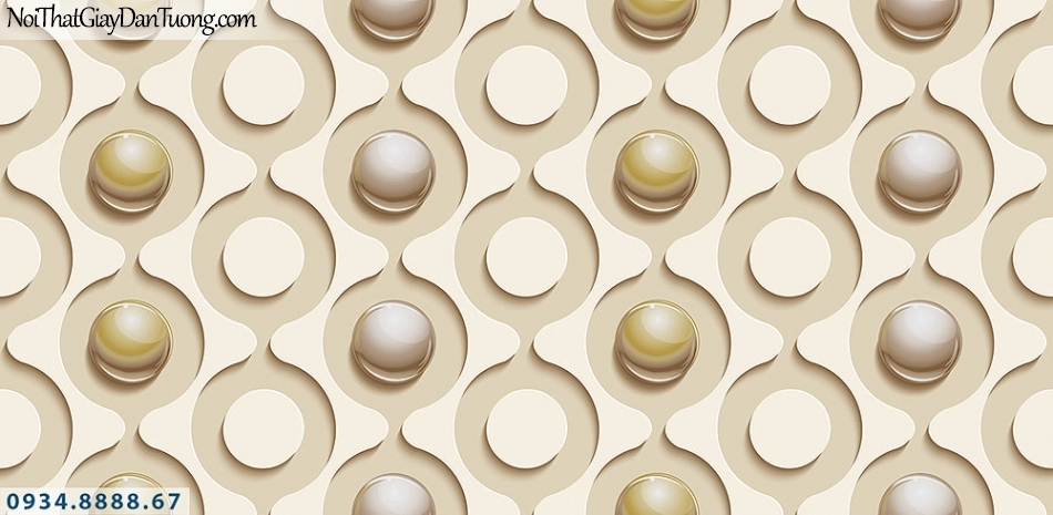 Assemble | Giấy dán tường 3D hình tròn, những viên bi tròn màu vàng kem | Giấy dán tường Assemble 40114-2