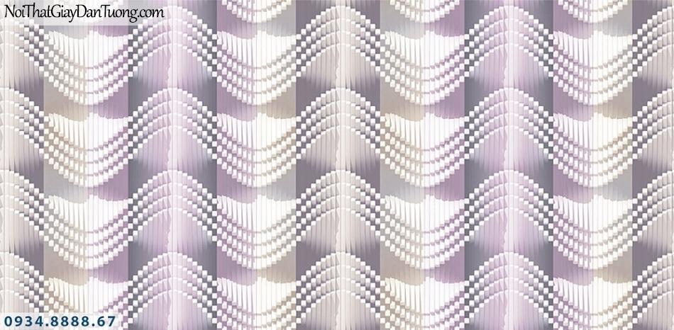 Assemble | Giấy dán tường 3D màu tím, sóng uốn lượn như sóng biển mái ngói | Giấy dán tường Assemble 40115-4