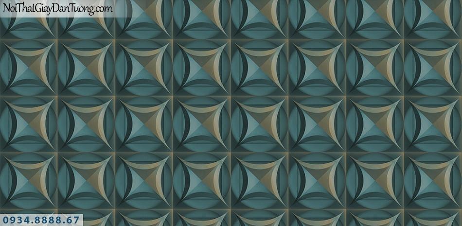 Assemble | Giấy dán tường 3D màu xanh ngọc, hình lập thể | Giấy dán tường Assemble 40100-4