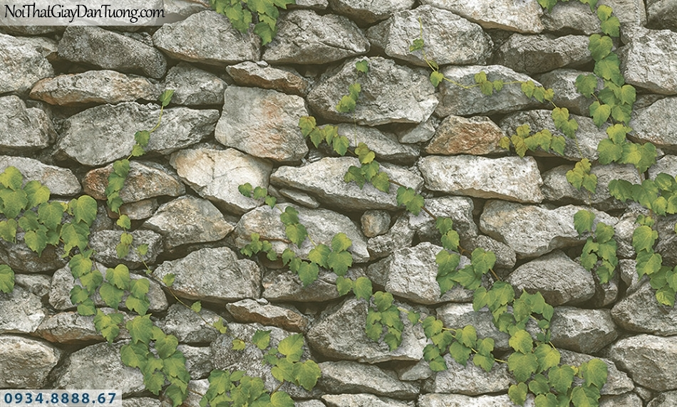 Assemble | Giấy dán tường giả đá 3D, dây leo tường đá xây | Giấy dán tường Assemble 40106-1