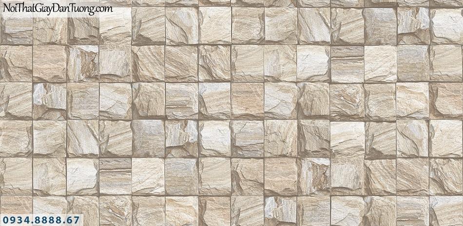 Assemble | Giấy dán tường giả đá 3D màu vàng, đá hình vuông | Giấy dán tường Assemble 40108-3