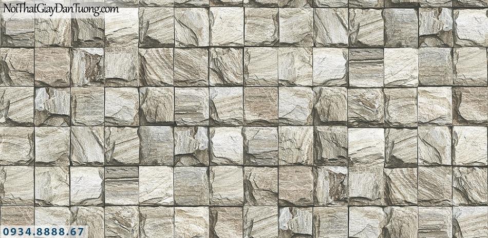 Assemble | Giấy dán tường giả đá 3D màu xám, giả đá ô vuông | Giấy dán tường Assemble 40108-1