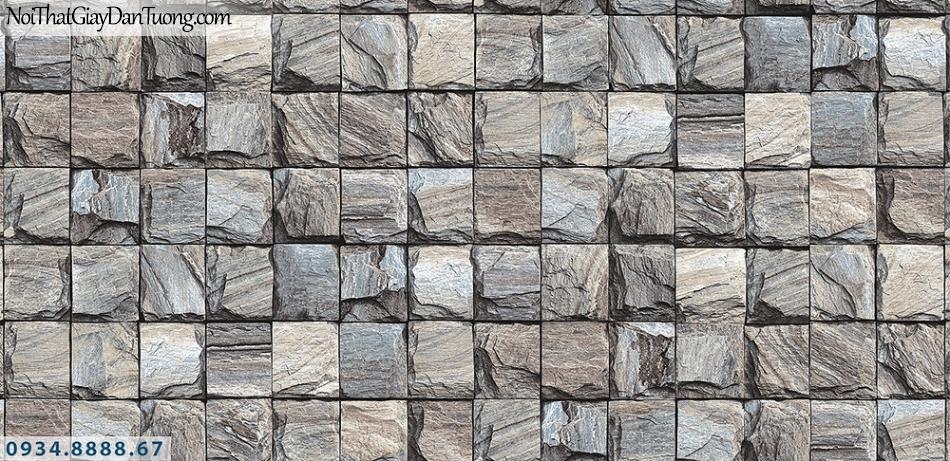 Assemble | Giấy dán tường giá đá 3D màu xám xanh, những viên đá ô vuông xếp đều | Giấy dán tường Assemble 40108-2
