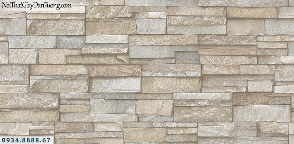 Assemble | Giấy dán tường giả đá 3D viên nhỏ hình chữ nhật xếp đều lên mảng tường, màu xám, màu xánh xanh| Giấy dán tường Assemble 40109-1