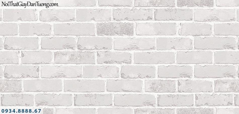 Assemble | Giấy dán tường giả gạch 3D, giấy dán tường giả gạch màu trắng, màu xám, trắng xám | Giấy dán tường Assemble 40049-6