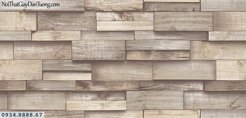 Assemble | Giấy dán tường giả gỗ 3D màu nâu, nâu nhạt | Giấy dán tường Assemble 40111-1