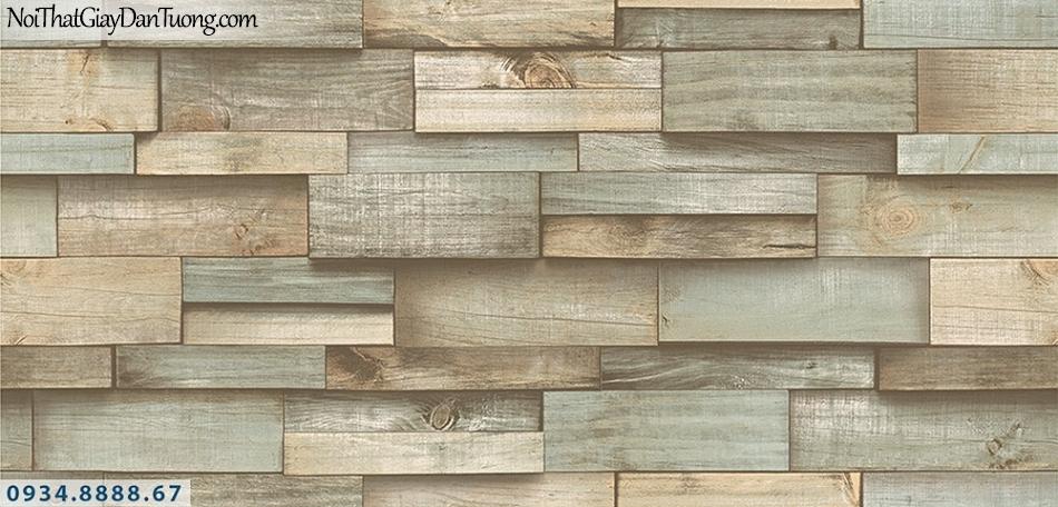 Assemble | Giấy dán tường giả gỗ 3D màu xám xanh | Giấy dán tường Assemble 40111-2