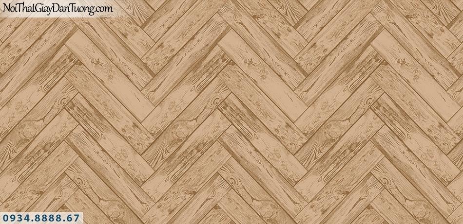 Assemble | Giấy dán tường giả gỗ màu nâu, màu vàng đỏ, những thanh gỗ đan xéo vào nhau | Giấy dán tường Hàn Quốc 40119-3