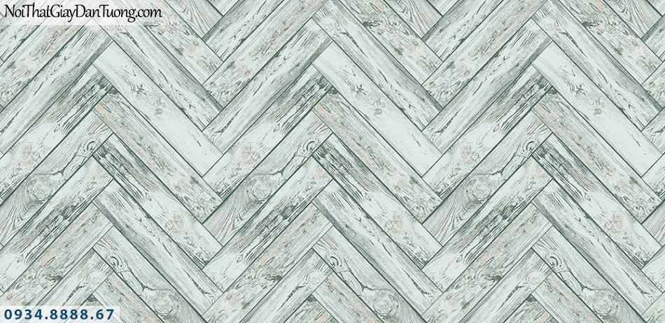Assemble | Giấy dán tường giả gỗ màu xanh lơn, những thanh gỗ nhỏ đan vào nhau | Giấy dán tường Hàn Quốc 40119-6