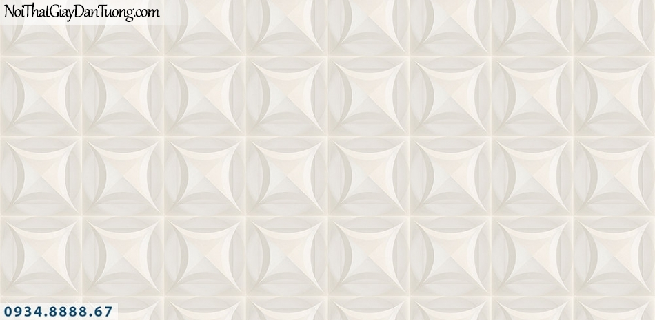 Assemble | Giấy dán tường hình lập thể 3D màu kem, màu trắng, trắng xám | Giấy dán tường Assemble 40100-1