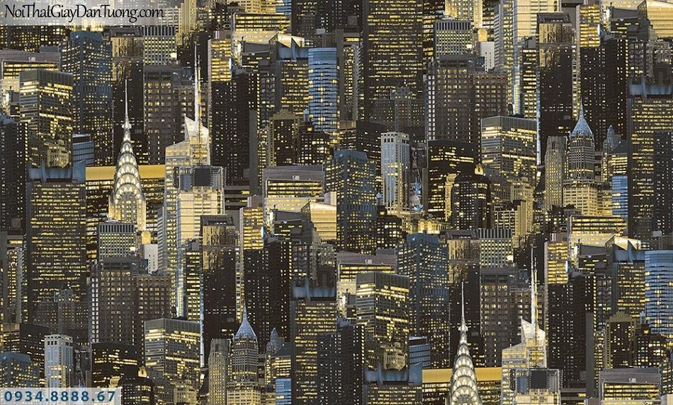 Assemble | Giấy dán tường hình thành phố new york màu vàng | Giấy dán tường Assemble 40094-2