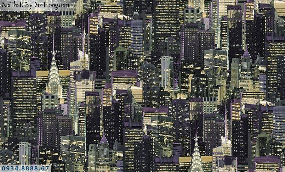Assemble | Giấy dán tường hình thành phố về đêm, thành phố new york màu đen| Giấy dán tường Assemble 40094-1