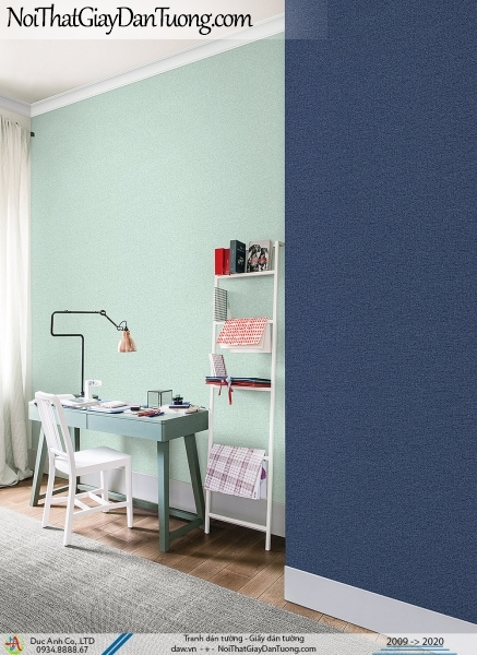 ARTBOOK | Giấy dán tường gân trơn hiện đại, sự kết hợp giữa xanh chuối và xanh than đậm | Giấy dán tường Hàn Quốc Artbook 57174-7 - 57174-9