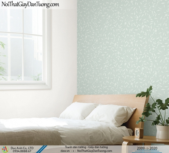 ARTBOOK | Giấy dán tường hình lá cây, những chiếc lá nhỏ rơi bay, màu xanh cho điểm nhấn phòng ngủ | Giấy dán tường Hàn Quốc Artbook 57181-3