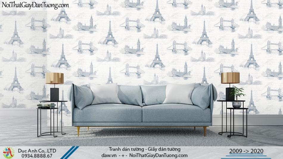 Art Deco | Giấy dán tường hình các địa danh nổi tiếng thế giới màu trắng | Giấy dán tường Art Deco 8253-1