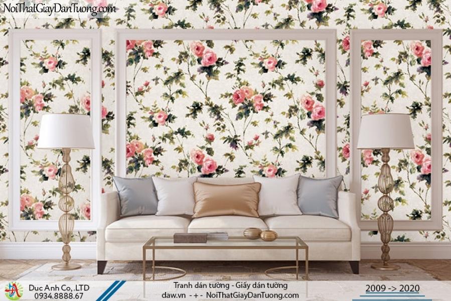 Art Deco | Giấy dán tường cành hoa lớn, những bông hoa kểu hoa hồng pháp | Giấy dán tường Art Deco 8263-2