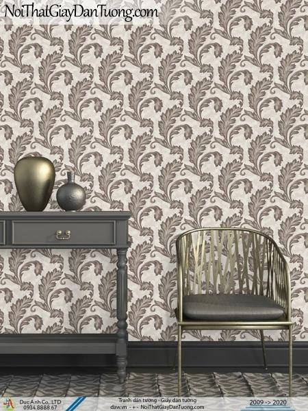 Art Deco | Giấy dán tường hình chiếc lá màu xám | Giấy dán tường Art Deco 8259-3