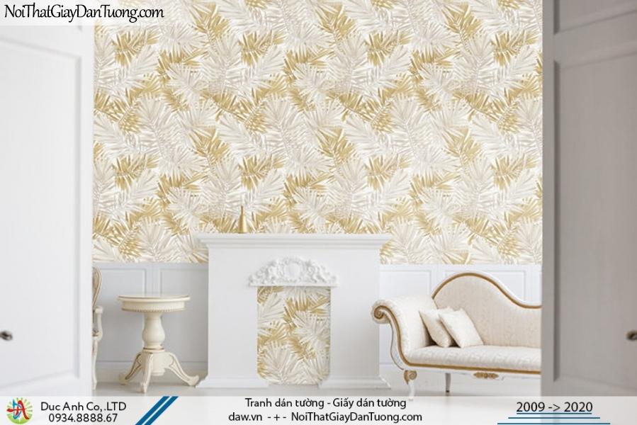 Art Deco | Giấy dán tường hình chiếc lá, nhiều chiếc lá đan xen nhau, màu vàng, màu xám | Giấy dán tường Art Deco 8268-3